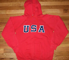USA Vtg 80s Raglan Hoodie sweat t shirt Track Olympic SEWN jacket hockey jersey