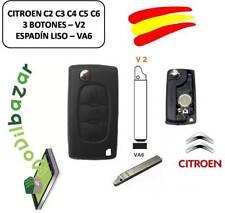LLAVE CARCASA CITROEN C2 C3 C4 C5 C6 V2 VA6 LUZ 3 BOTONES ESPADIN PLANO ESPAÑA