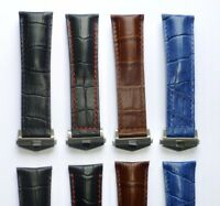 24mm Genuine Leather Watch Band Strap with Deployment Clasp for TAG HEUER