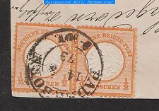 """Deutsches Reich-Mi.Nr.18/18°(Paar) auf Briefausschnitt - Kr2 """"Paderborn 14 3 73"""""""