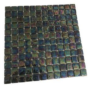 Irridescent Luxury Reflective Glass Mosaic Wall Tiles  300mm Sheet