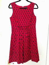 Rare People Tree Orla Kiely Owl Print Red Cotton  Dress Size 12 Worn Twice