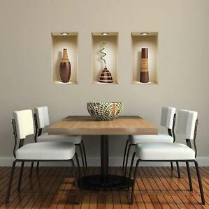 Art Magic 3D Vinyl Set of 3 DIY Nishe Removable Wall Stickers Decals Brown Vases