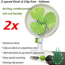 2x 160mm Clip Fan Grow Tent Student Desk 360 Direction Clamp AU Plug Metal Mesh