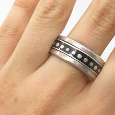 Vtg Mexico 925 Sterling Silver Enamel Rotating Band Ring Size 15