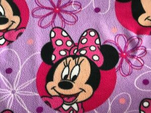 Disney Minnie Mouse Pink Polka Dot Bow Flowers Fleece Blanket Purple