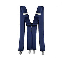 35mm Wide Mens Clip On  Adjustable Elastic Stretch Suspender X Shape Navy Braces