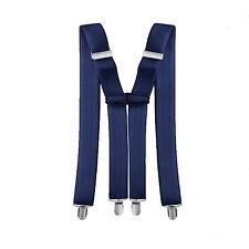 35mm Wide Mens Clip On Adjustable Elastic Stretch Suspender X Shape Navy Braces