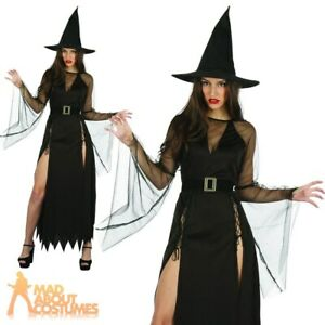 Adult Ladies Witch Costume Gothic Classic Halloween Fancy Dress Outfit Womens