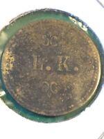 Vintage Token L.K. Good For 5 Cents In Trade Token Old Antique Coin T5