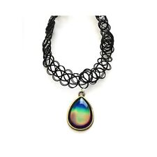 90s Vintage Moodstone Colour Mood Stone Tear Drop Pendant Tattoo Choker Necklace