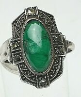 Art Deco Silber Ring 935 Silber punziert großer natürlicher Smaragd RG 52/16,5mm