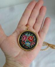 Vintage 1977 AVON  Needlepoint Cross Stitch Locket Victorian Roses Necklace