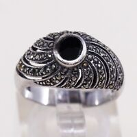 Sz 6, Vtg Sterling Silver Handmade Ring, 925 Silver Band W Obsidian N marcasite