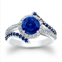1.80 Ct Round Blue Sapphire Engagement Ring 14K White Gold Real Diamond Size 6 7