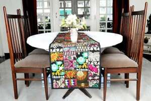 Patchwork Indian Table Runner Black Embroidery Vintage Throw Handmade Tapestry
