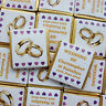 50 PERSONALISED CHOCOLATE WEDDING FAVOURS GOLD RINGS FOILS HEARTS any colours