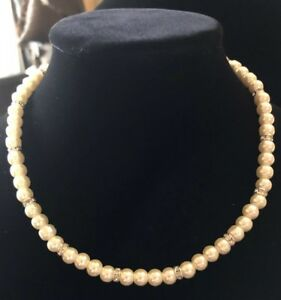 Ivory Simulated Pearl Stretch Necklace With Silver Plated Rhinestone Beads #347
