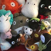 """Studio Ghibli Plush Soft Stuffed Toy 3"""" - 12"""" Totoro Haku Jiji Yakul No Face NEW"""