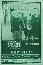 """GREEN DAY / THE LIVING END """"WARNING TOUR 2000"""" SAN DIEGO CONCERT POSTER"""