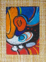 ACEO original pastel painting outsider folk art brut #010266 abstract surreal
