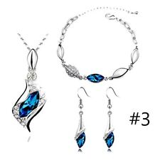 10 Colors Silver Plated Crystal Rhinestone Necklace Pendant Earring Bracelet Set