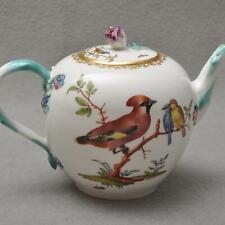Meissen seltene alte Teekanne mit Vögeln / Vogelmotiv Punktzeit 1740-1780