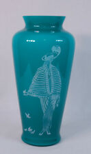 """Fenton Teal Sand Carved Lady Art Glass Vase """"Danielle"""" 1986 Limited Edition"""
