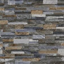 3D Slate Stone Brick Effect Wallpaper Vinyl Textured Grey Bronze Brown Blue