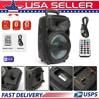 """8""""BT Party Speaker System Bluetooth Big Led Portable Stereo Tailgate Loud Remote"""
