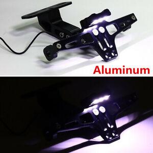 Motorcycle License Plate Holder Frame Bracket Adjustable Angle Black w/lights