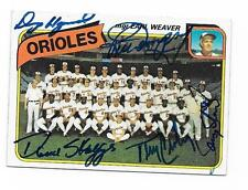 1980 TOPPS ORIOLES TEAM CARD # 404 AUTOGRAPHED SIGNED BY 5 DEMPSEY CROWLEY +3