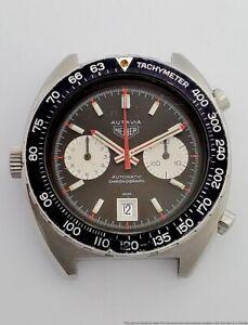 Scarce Huge 11630 Heuer Autavia Automatic Date Chrono Stainless Steel Wristwatch