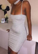 Dress Collar Spaghetti Strap Bling Shine Sequined Sparkling Short Summer