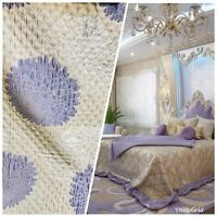 NEW Designer Quilted Satin Brocade Fabric - Floral- Lavender & Ivory