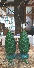 VINTAGE Pair Green Glazed Ceramic Table Lamps Pine Cone Italy 1950's-1970's