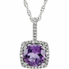 Not Enhanced Amethyst Sterling Silver Fine Necklaces & Pendants