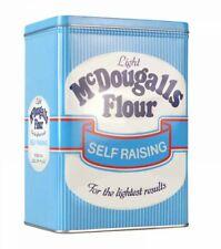 Retro McDOUGALLS FLOUR STORAGE TIN White & Blue STRIPES 2.8L