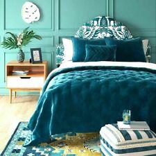 Opalhouse Velvet TEAL Tufted Quilt Coverlet - KING-Comforter Only- NEW -GORGEOUS