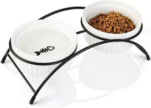 Dorakitten 2PCS Cat Bowl with Raised Stand-Detachable Ceramic Pet Bowl