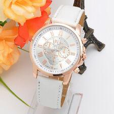 Women's Fashion Elegant White Geneva Stainless Steel Quartz Analog Wrist Watch