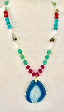 Druzy geode gemstone necklace with Chrysoprase, Agate, pearls, Crystal & Coral.