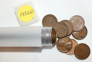 1 Roll 1932 D Lincoln Wheat Cents 50 1c US Coins Average Circulated Denver Mint