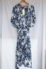 BEME Elbow Sleeve Tie Waist Wrap Blue & White Floral Maxi Dress Plus Size 20 NWT