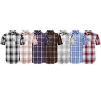 NEW Men Button Up Shirt BIG & TALL L-8XL Striped Plaid Short Sleeve 12 Colors