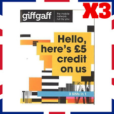 3x Giffgaff Nano/Micro/Standard 3 in 1 SIM FREE £5 Credit Unlimited Data & Texts