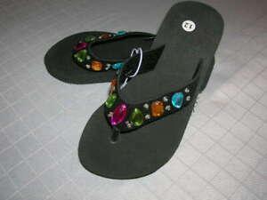 Bedazzled Flip Flops Girls Slip On Wedge Black (Size 3, 12) T28