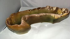 """ART POTTERY PLANTER/VASE GREEN AND BROWN CURVED 14"""" X 6"""""""