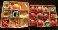 ANTIQUE MINIATURE FEATHER TREE GLASS CHRISTMAS ORNAMENTS
