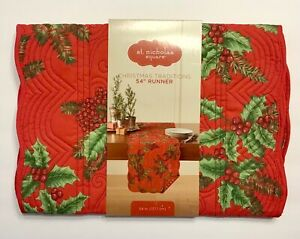 """Quilted Christmas Table Runner St. Nicholas Square Holly Berries 13""""x54"""" NEW"""